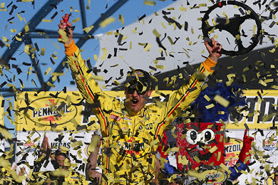 """The cars are fast, we showed it last weekend and able to show it again this weekend,"" Joey Logano commented in Victory Lane. #NASCAR"