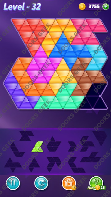 Block! Triangle Puzzle Grandmaster Level 32 Solution, Cheats, Walkthrough for Android, iPhone, iPad and iPod