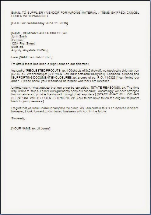 purchase order cancellation letter format in word