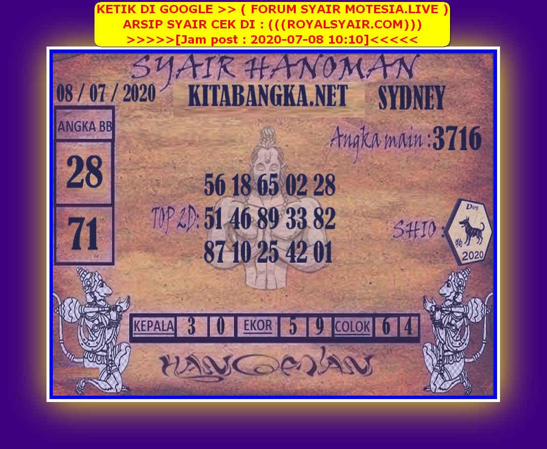 Kode syair Sydney Rabu 8 Juli 2020 109