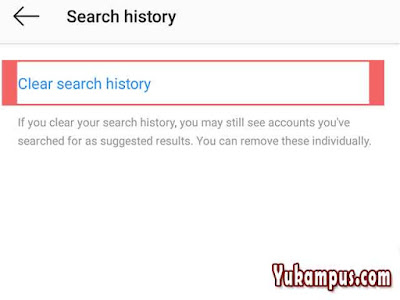 hapus riwayat pencarian ig