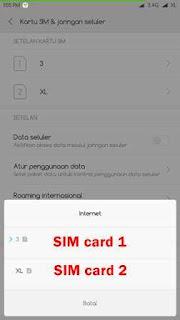 pilih opsi internet dan tentukan SIM mana yang akan dijadikan sebagai internet