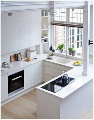 dapur minimalis ukuran 2x2 warna putih dengan jendela
