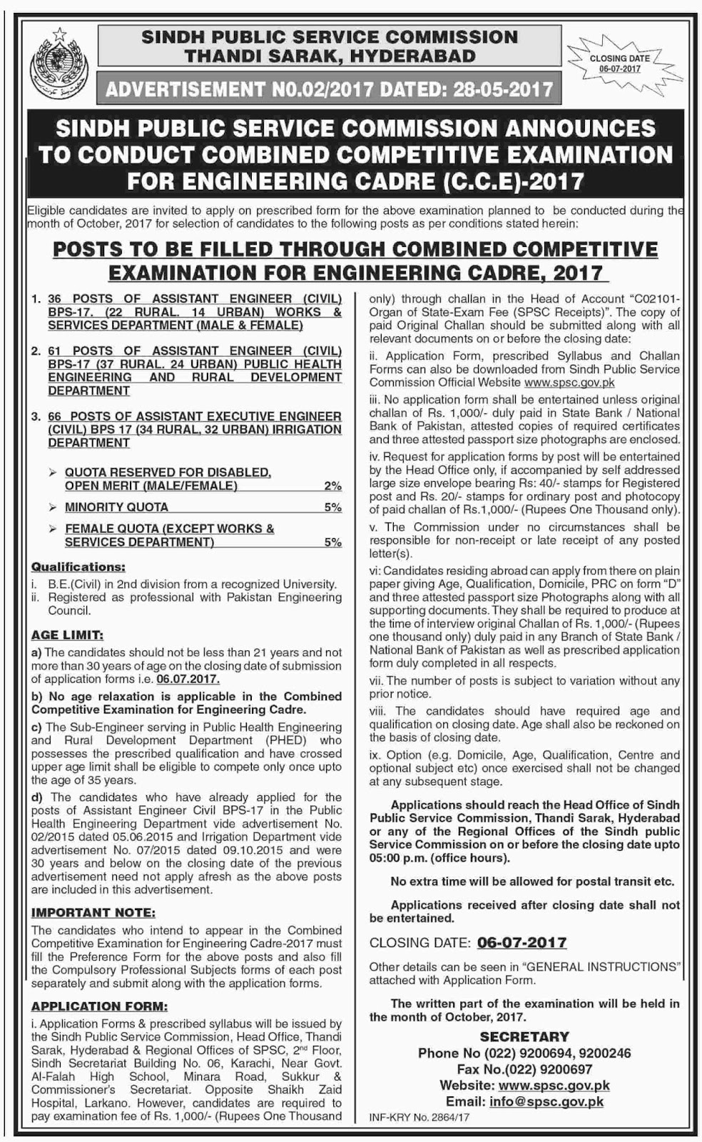 Sindh SPSC jobs in Sindh Public Service Commission 29 May 2017