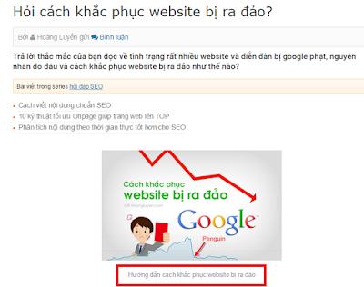 """Đặt từ khóa """"Cách khắc phục website bị ra đảo"""" vào phần chú thích hình ảnh"""