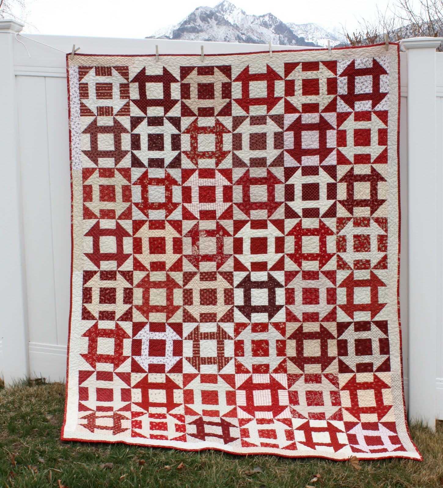 Red And White Churn Dash Quilt Diary Of A Quilter A
