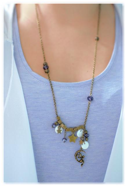 collier asymétrique féerique porté