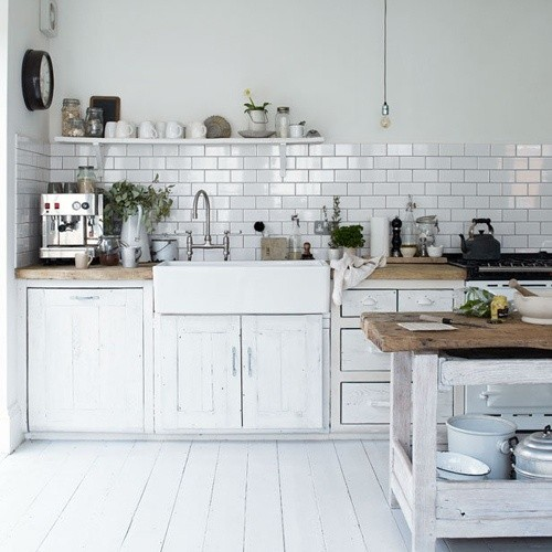 ... Country Style Kitchen. Brick Bond Rectangle Wall Tiles Look Great Above  These Sinks.