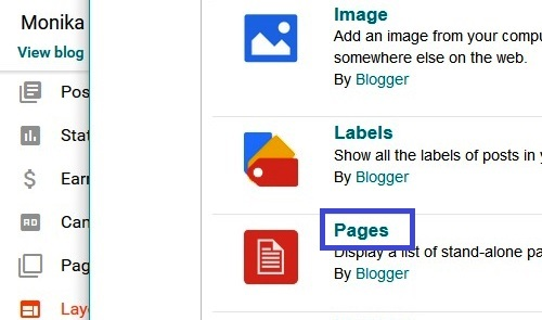 How to Add Pages Tabs Widget Gadget in Blogger