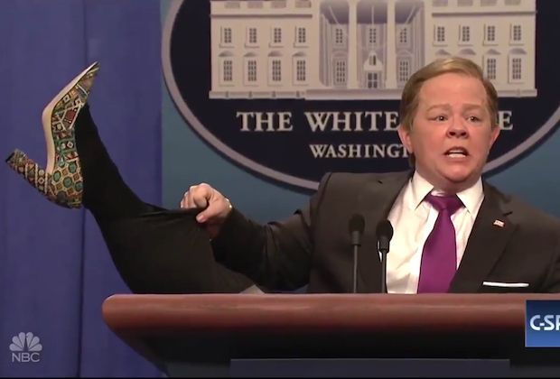 Melissa McCarthy kicks up her heels while playing Sean Spicer
