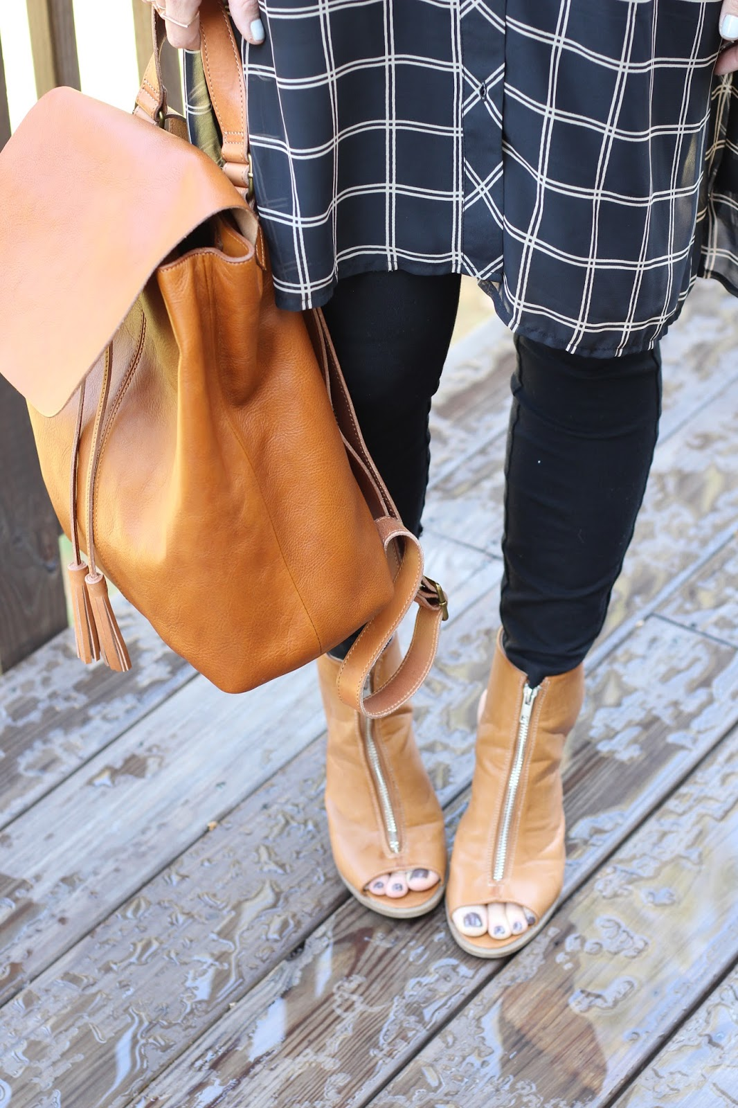 Tassel Backpack, Peep Toe Booties