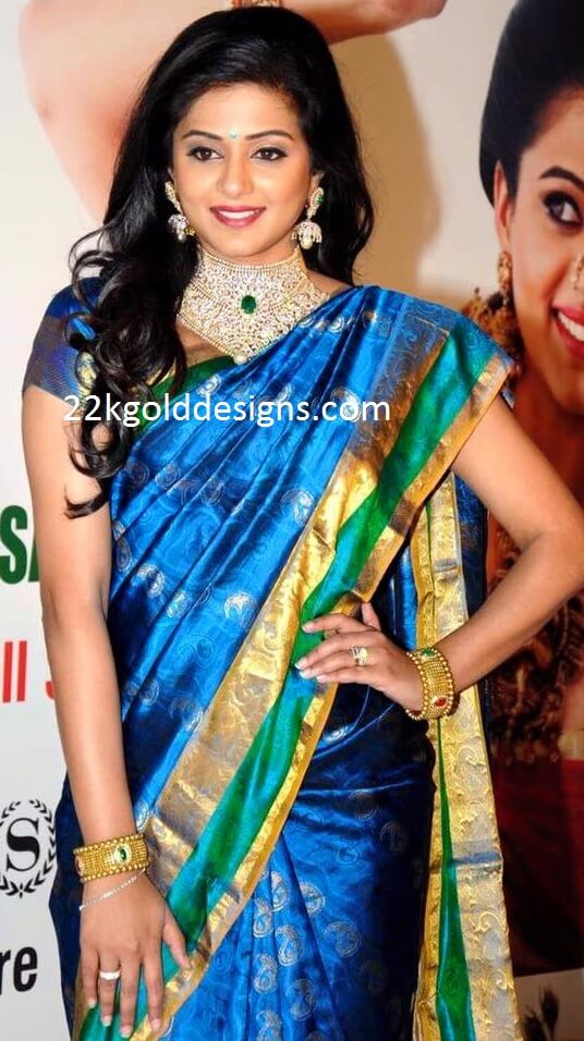 Priyamani in Bridal Diamond Necklace with Jhumkas