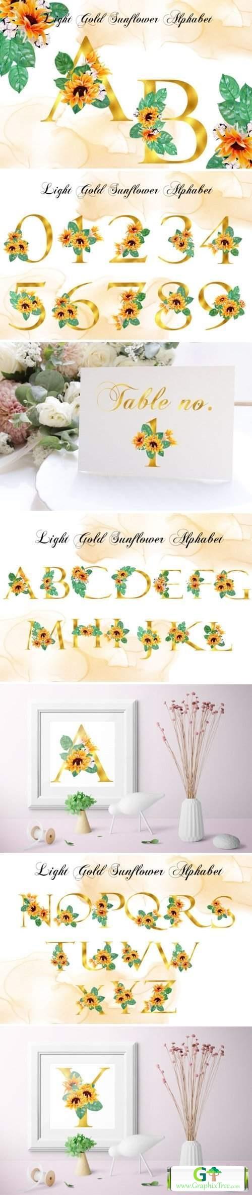 Pack of Sunshine- Light Gold Alphabet