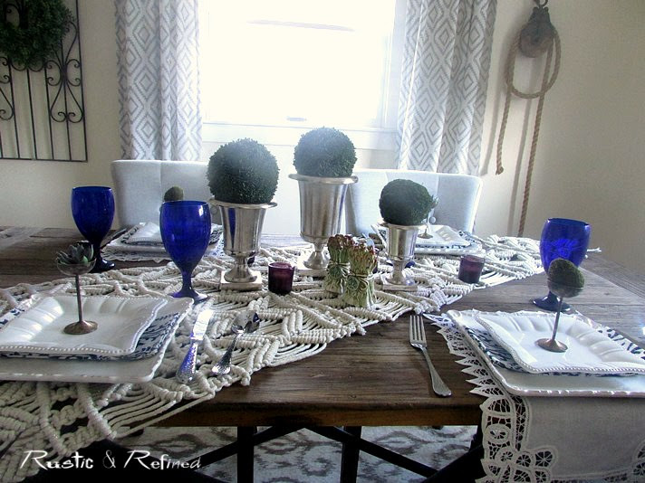Tablescape using blue and white