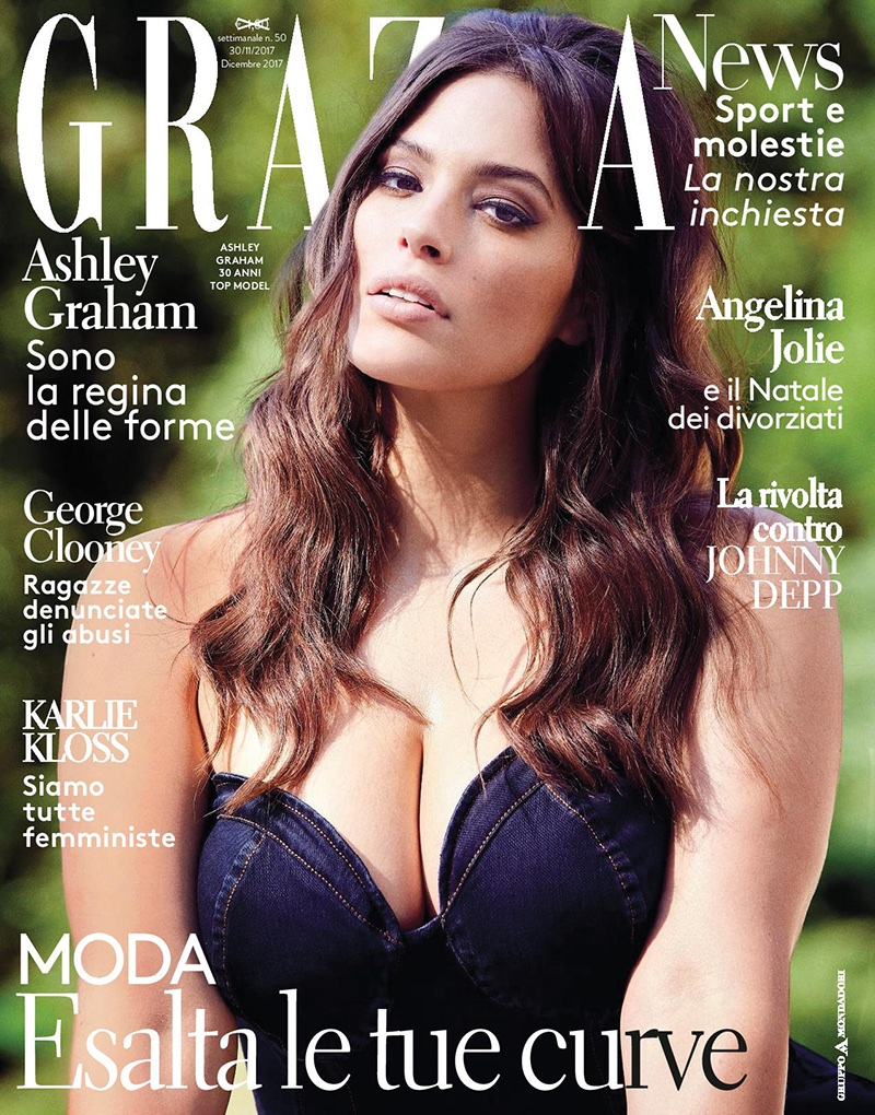 Ashley Graham bares curves for Grazia Italy December 2017