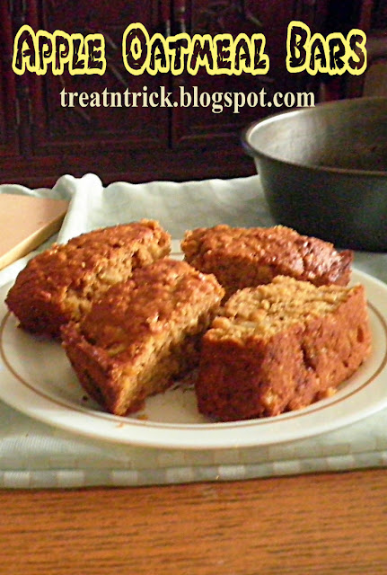 Apple Oatmeal Bars Recipe @treatntrick.blogspot.com