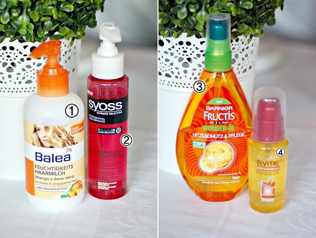 Balea Feuchtigkeits Haarmilch, Syoss Super Defense Color Elixier, Garnier Fructis Wunder-Öl, Elvital Anti Haarbruch, Loreal, Serum