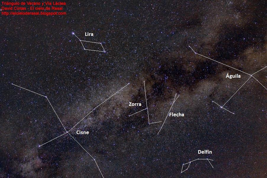 Triángulo de verano y Vía Láctea - El cielo de Rasal