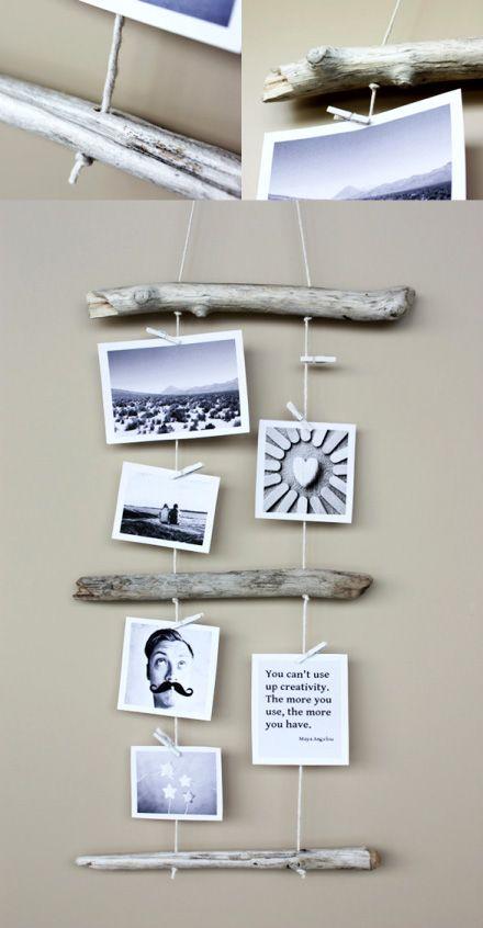 portafotos hecho con palos