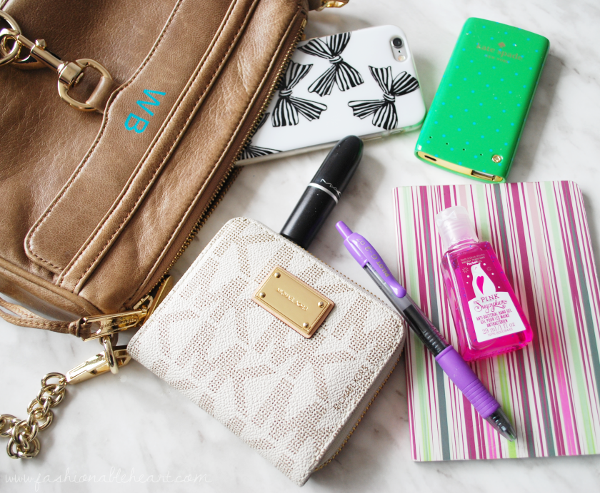 bbloggers, bbloggersca, fbloggers, fashion, rebecca minkoff, mini mac, taupe, michael kors, wallet, mac, velvet teddy, ardene, iphone, kate spade, battery bank, liberty of london, target, bath and body works, hand gel, in my purse