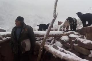 Una fuerte tormenta de nieve sorprendió a los puesteros lejanos y la municipalidad los asistió con alimentos no perecederos y fardos de pasto.