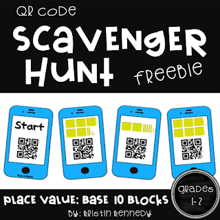 FREE Place Value QR Code Scavenger Hunt. Students have so much FUN moving around the room to solve the problems with the iPads. For first & second grade: place value math. Find this and tons of other free ideas and activities for using QR codes in the elementary classroom. You'll find freebies for using QR codes in math, reading, for scavenger hunts, self-checking task cards, listening centers and more on the iTeach 1:1 blog.