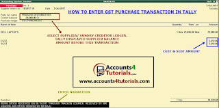how to enter gst purchase entry in tally