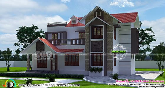 2105 sq-ft 4 bedroom sloping roof home