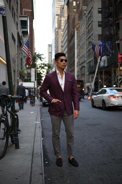 Leo Chan wearing Burgundy Blazer Work to Happy Hour Look | Asian Male Model and Blogger