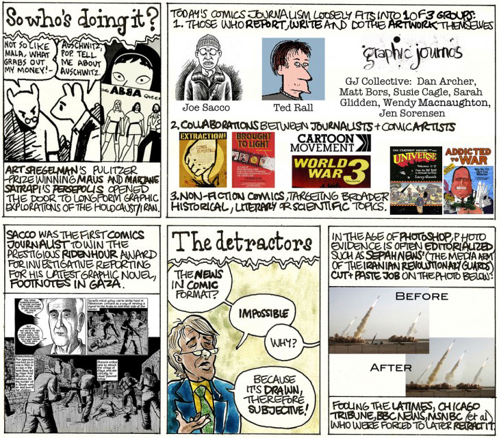 """An introduction to comics journalism, in the form of comics journalism"" by Dan Arche"