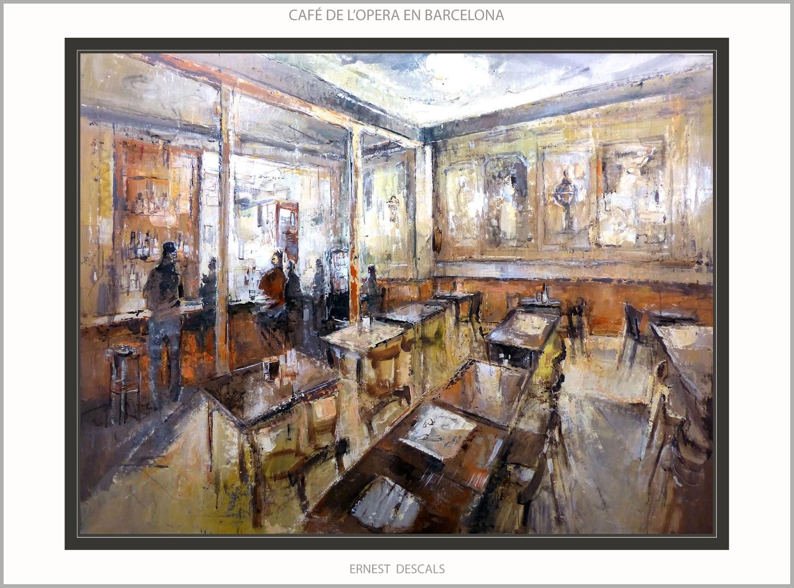 Ernest descals artista pintor caf opera pintura - Cuadros de interiores ...