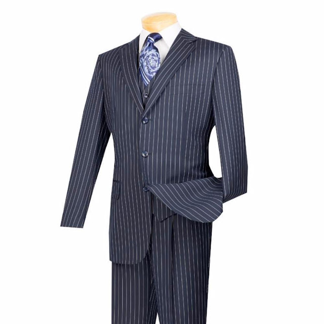 Regular Fit Men's Suit 3 Piece 3 Button Banker Stripe in Blue - 46 Short - 40 Waist / Blue