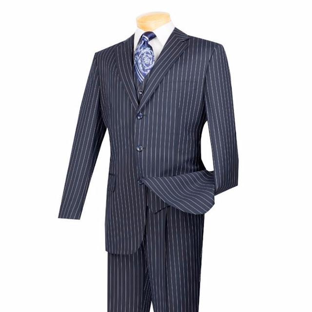 Regular Fit Men's Suit 3 Piece 3 Button Banker Stripe in Blue - 46 Short - 40 Waist / Blue