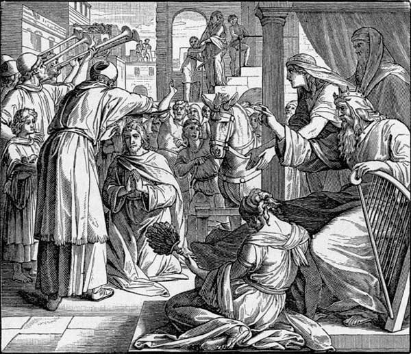 David gave orders for Zadok the priest and Nathan the prophet to anoint Solomon as king and have him sit on David's throne immediately.