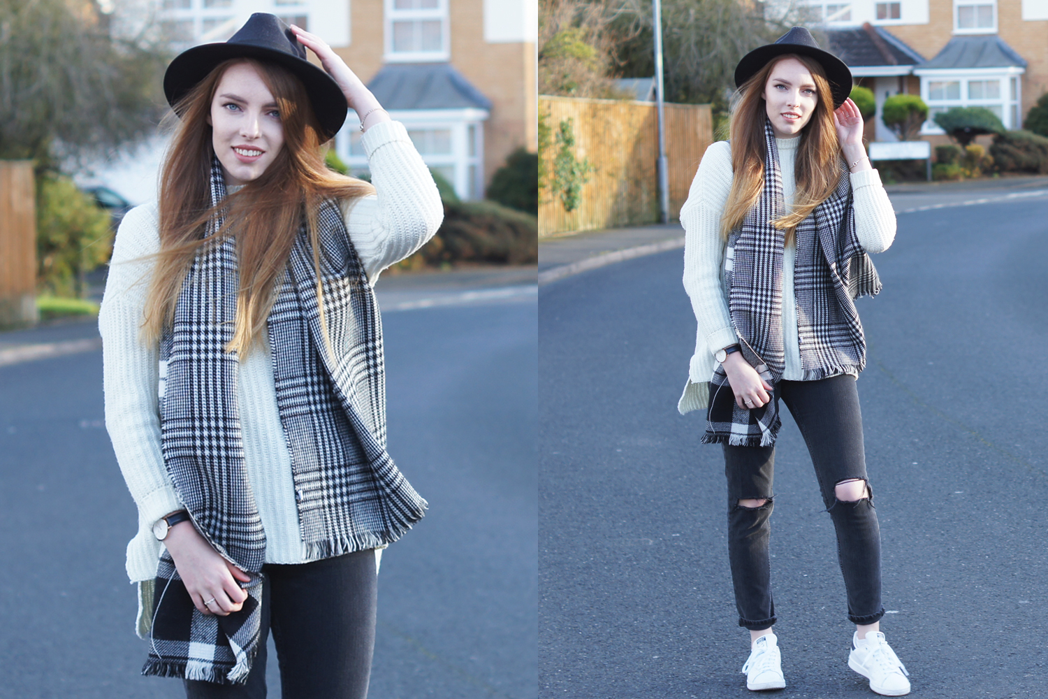monochrome check scarf and white jumper