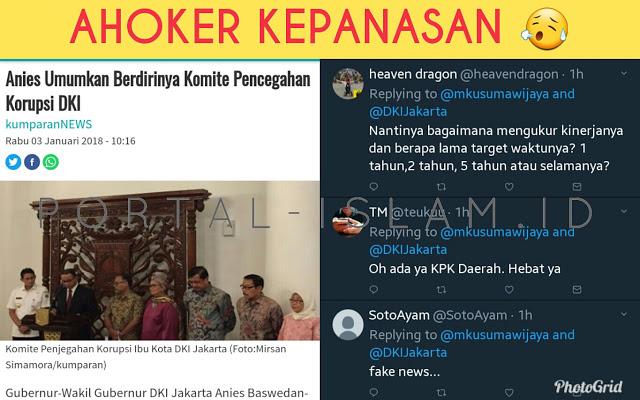 Mantap! Anies Umumkan Pembentukan Komisi Pencegahan Korupsi DKI, Ahoker Langsung Kelojotan