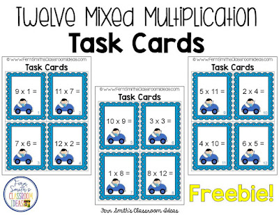 Mixed Multiplication Task Cards and Recording Sheets Freebie from Fern Smith's Classroom Ideas at TeacherSherpa.