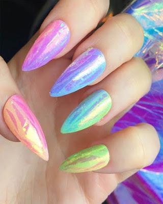 diseño de uñas espejo de colores juvenil de moda tumblr casuales