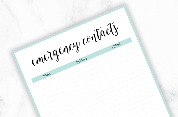 Free Printable Irma Contact Lists // Eliza Ellis. Including Emergency Contact List, Friends and Family, Businesses and Organizations - must have lists for your planner or home organizer! Available in 6 pretty colors and both A4 and A5 sizes. Enjoy!