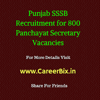 Punjab SSSB Recruitment for 800 Panchayat Secretary Vacancies