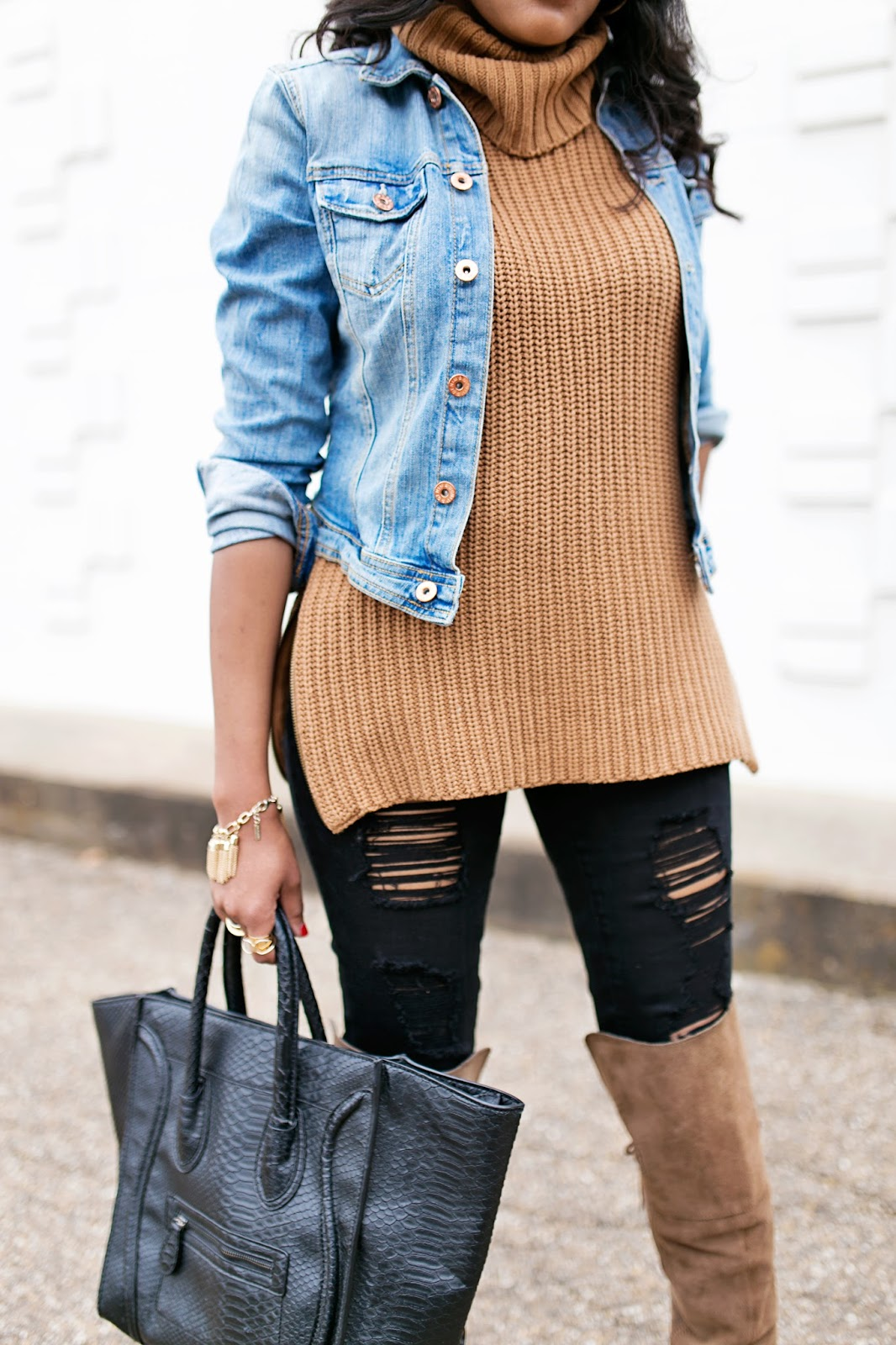 women fashion- denim jacket outfit- brown suede over the knee boots- sam edelman tatum otk boot- zippered turtleneck- black ripped jeans- karen walker number one sunglasses- NARS Cruella lipstick- black girl blogger- fashion blogger- dallas blogger- casual outfit ideas- fall outfit idea