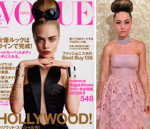 Revista Vogue e Sabrina Sato mesmo penteado
