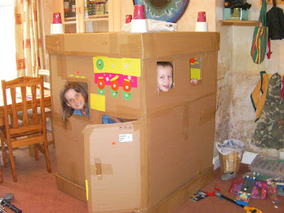 cardboard box castle for children with police lights