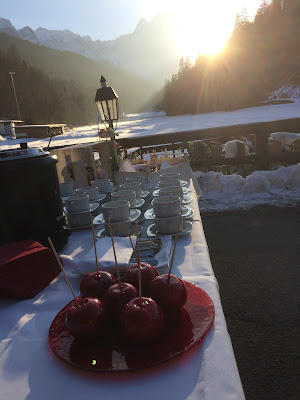 Hochzeitsempfang, Winterhochzeit in den Bergen am Riessersee Hotel Garmisch-Partenkirchen in Bayern, Kupfer, Dunkelrot, Hellblau, Grau, Winter wedding abroad Bavaria in copper, ruby red, light blue