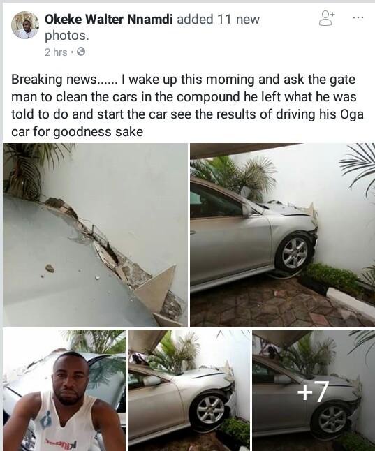 Chai! Gateman crashes his employer