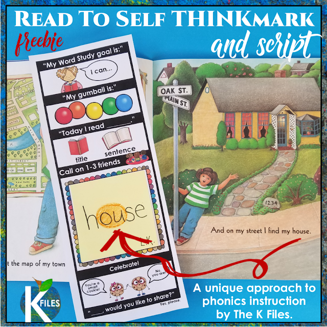 FREE! Mix a little Word Work in your Read to Self center during the Daily 5! Students hunt for the phonics rules they are studying in their differentiated Words Their Way group as they read from leveled readers. They love to add to their collection of words in this interactive Word Study Notebook. This Read to Self Thinkmark (bookmark) is perfect for peer teaching during Share time!