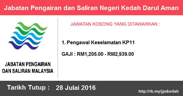 Jawatan Kosong di Jabatan Pengairan dan Saliran Negeri Kedah Darul Aman