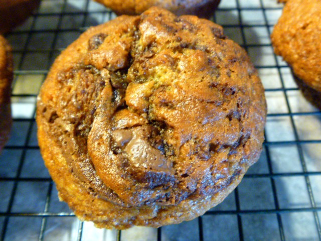 Banana Cinnamon Nutella Swirl Muffins for breakfast in bed or on the go! - Slice of Southern