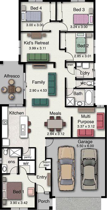 4 Bedrooms popular house floor plan
