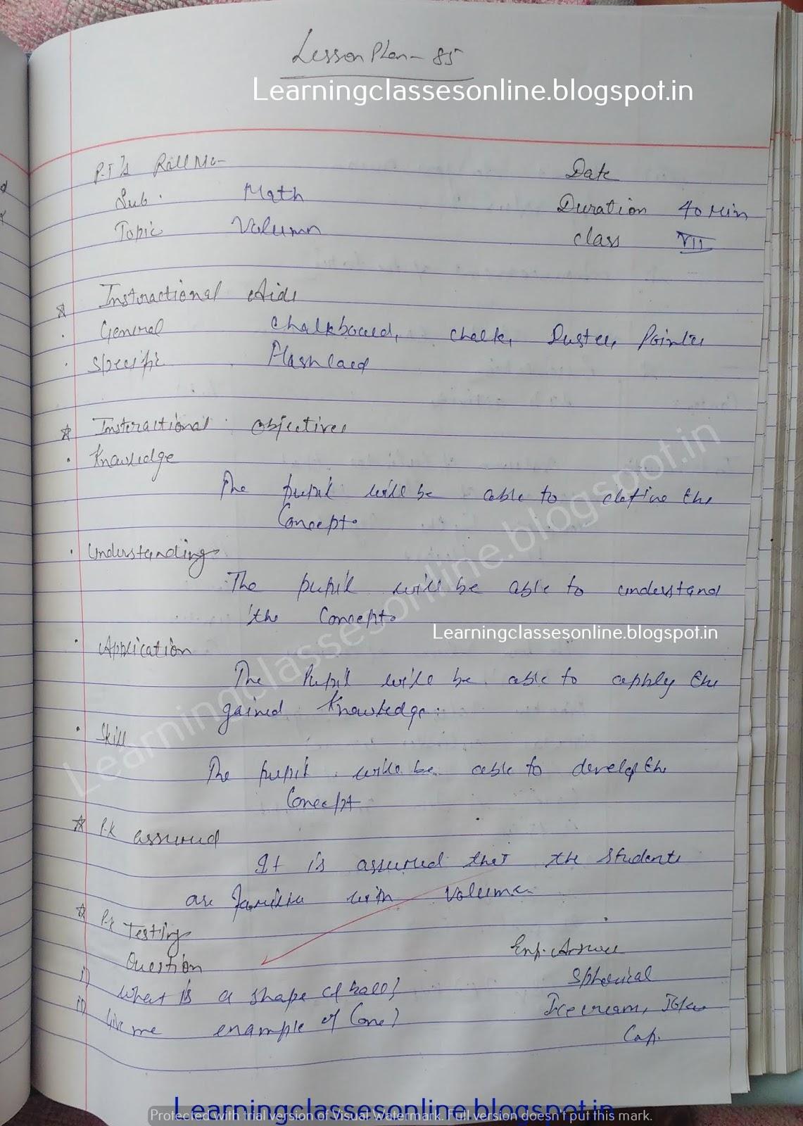 maths lesson plan format, B ed lesson plan free download
